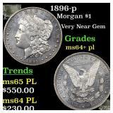 1896-p Morgan $1 Grades Choice Unc+ PL