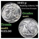 1945-p Walking Liberty 50c Grades GEM Unc