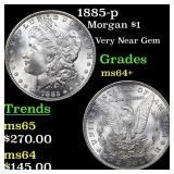1885-p Morgan $1 Grades Choice+ Unc