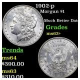 1902-p Morgan $1 Grades Select+ Unc