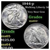 1944-p Walking Liberty 50c Grades Choice+ Unc