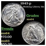 1943-p Walking Liberty 50c Grades Choice Unc