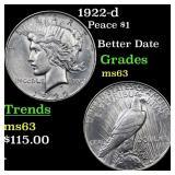 1922-d Peace $1 Grades Select Unc