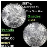 1887-p Morgan $1 Grades Choice+ Unc