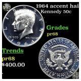 1964 accent hair Kennedy 50c Grades GEM++ Proof