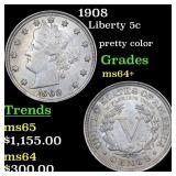 1908 Liberty 5c Graded ms64+