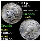 1934-p Peace $1 Grades Select+ Unc