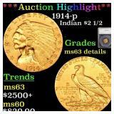 *Highlight* 1914-p Indian $2 1/2 Graded ms63 detai