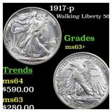 1917-p Walking Liberty 50c Grades Select+ Unc