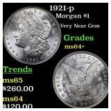 1921-p Morgan $1 Grades Choice+ Unc