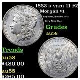 1883-s vam 11 R5 Morgan $1 Grades Choice AU/BU Sli