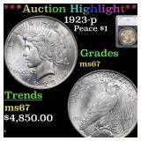 *Highlight* 1923-p Peace $1 Graded ms67