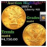 *Highlight* 1887-s Liberty $10 Graded ms64