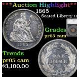 *Highlight* 1865 Seated Liberty 10c Graded pr65 ca