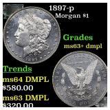 1897-p Morgan $1 Grades Select Unc+ DMPL