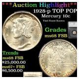 *Highlight* 1928-p TOP POP! Mercury 10c Graded ms6
