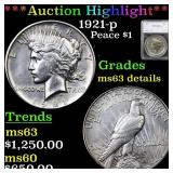 *Highlight* 1921-p Peace $1 Graded ms63 details