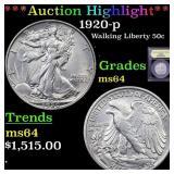 *Highlight* 1920-p Walking Liberty 50c Graded Choi