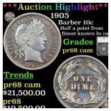 *Highlight* 1905 Barber 10c Graded pr68 cam