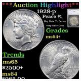 *Highlight* 1928-p Peace $1 Graded ms64+