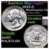 *Highlight* 1932-d Washington 25c Graded ms65