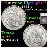 *Highlight* 1861-p Seated Liberty 50c Graded ms65