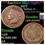 *Highlight* 1877 Indian 1c Graded vg8 detials