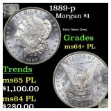 1889-p Morgan $1 Grades Choice Unc+ PL