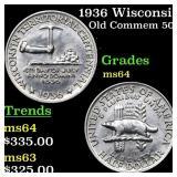 1936 Wisconsin Old Commem 50c Grades Choice Unc