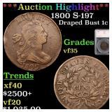 *Highlight* 1800 S-197 Draped Bust 1c Graded vf35