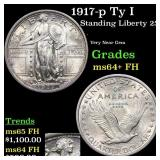 1917-p Ty I Standing Liberty 25c Grades Choice Unc