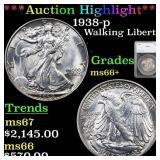 *Highlight* 1938-p Walking Liberty 50c Graded ms66