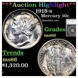 *Highlight* 1918-s Mercury 10c Graded ms66
