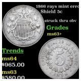 1866 rays mint error Shield 5c Grades Select+ Unc