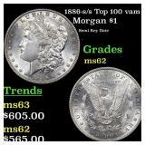 1886-s /s Top 100 vam 2 Morgan $1 Grades Select Un