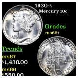 1930-s Mercury Dime 10c Grades GEM++ Unc