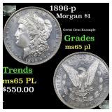 1896-p Morgan $1 Grades GEM Unc PL