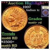 *Highlight* 1907 Indian 1c Graded Gem+ Unc RD