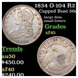 1834 O-104 R2 Capped Bust 50c Grades xf+