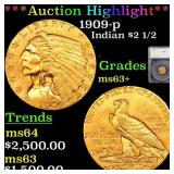 *Highlight* 1909-p Indian $2 1/2 Graded ms63+