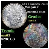 1886-p Rainbow Toned Morgan $1 Grades Select Unc