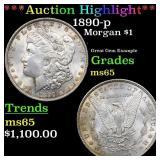 *Highlight* 1890-p Morgan $1 Grades GEM Unc