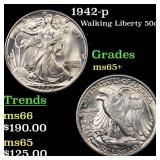 1942-p Walking Liberty 50c Grades GEM+ Unc