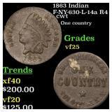 1863 Indian F-NY-630-L-14a R4 cwt Grades vf+