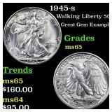 1945-s Walking Liberty 50c Grades GEM Unc