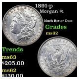 1891-p Morgan $1 Grades Select Unc