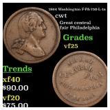1864 Washington F-PA-750-L-1a R2 cwt Grades vf+
