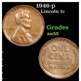 1946-p Lincoln Cent 1c Grades Choice AU