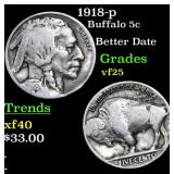 1918-p Buffalo Nickel 5c Grades vf+