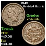 1849 Braided Hair Large Cent 1c Grades vf details
